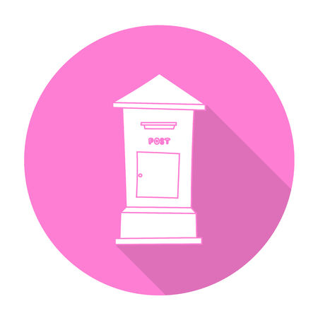postbox: White vector postbox on color circle background.