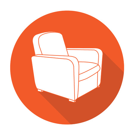 White vector sofa tool on color circle background.