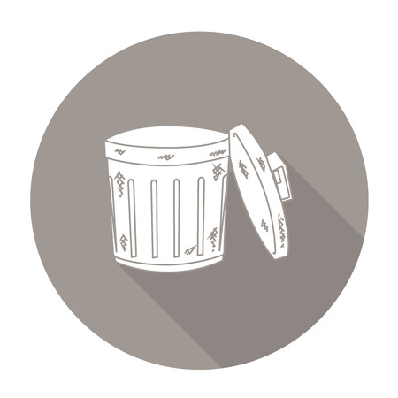 disposed: White vector recycle bin on color circle background. Illustration