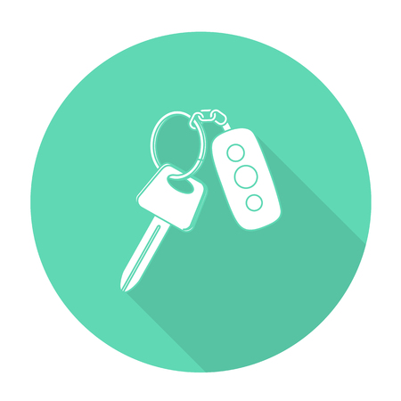 remote lock: White vector car key on color circle background.
