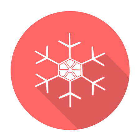 snow flake: White vector snow flake on color circle background.