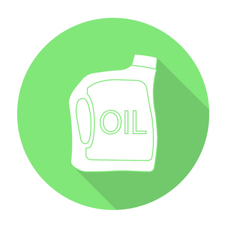 White vector oil bottle on color circle background.