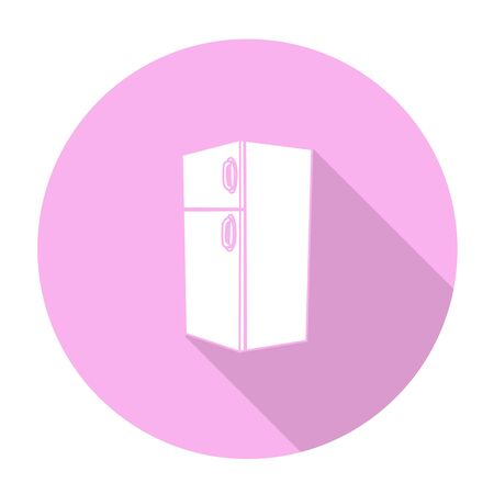 cooler boxes: White vector refrigerator on color circle background.