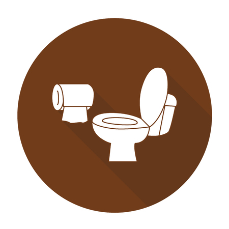 bidet: White vector toilet on color circle background. Illustration
