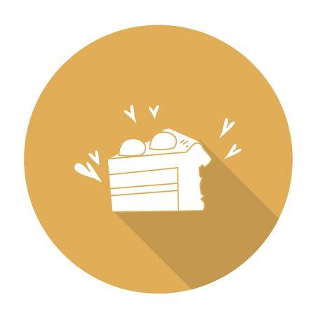 shortcake: White vector shortcake on color circle background. Illustration