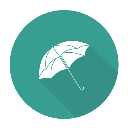 brolly: White vector umbrella on color circle background.
