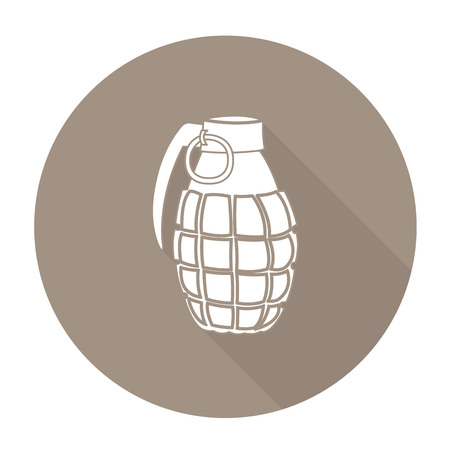 shrapnel: White vector hand grenade on color circle background.