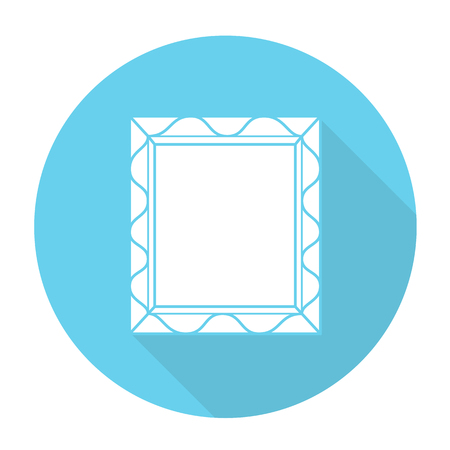 gilt: White vector picture frame on color circle background.