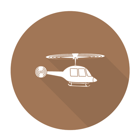 supersonic plane: White vector helicopter on color circle background.