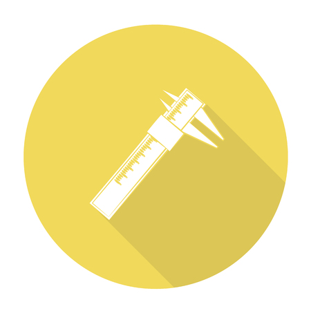 vernier: White vector vernier on color circle background. Illustration