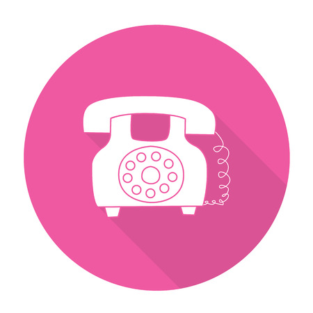 rotary dial telephone: White vector telephone on color circle background.