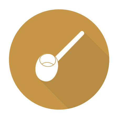 measuring spoon: White vector scoop on color circle background.