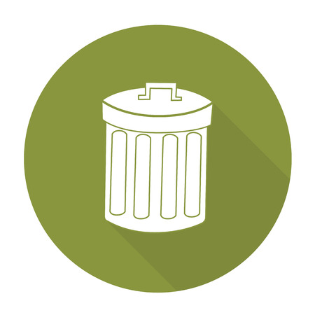 cleanup: White vector recycle bin on color circle background. Illustration