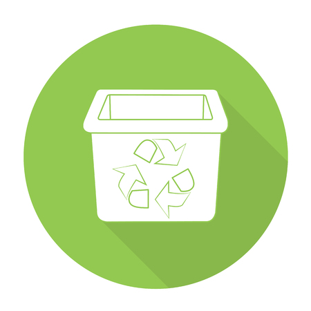 discard: White vector recycle bin on color circle background. Illustration