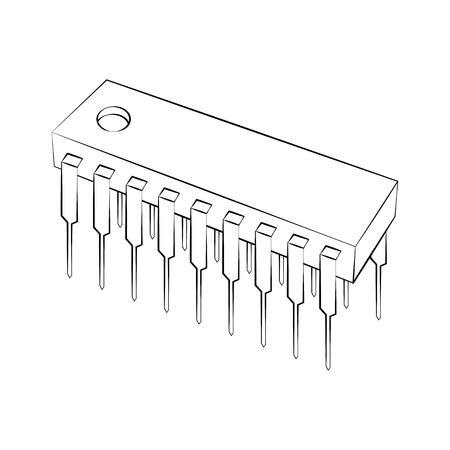 chipset: Black outline vector IC on white background. Illustration