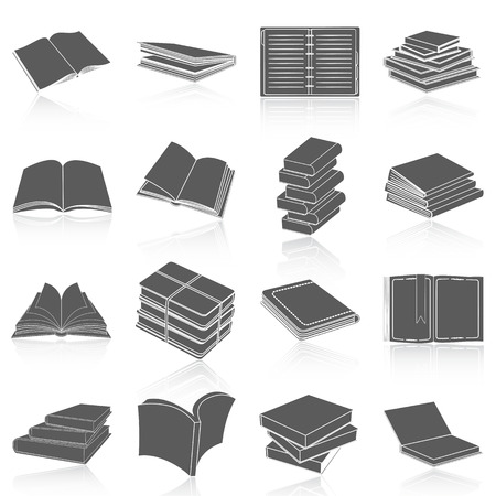 electronic publishing: Flat icons vector collection of book set. Isolated on white background.