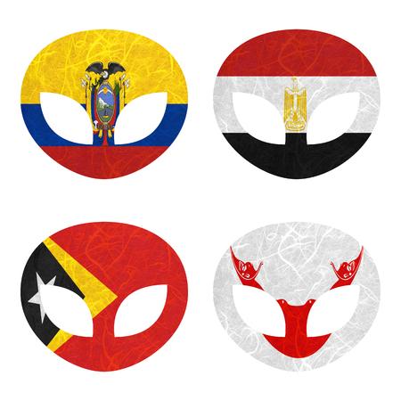 rapa nui: Bandera de la nación. papel reciclado extranjero sobre fondo blanco. (Timor Oriental, la isla de Pascua Rapa Nui, Ecuador, Egipto)