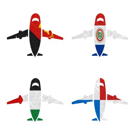 bandera panama: Nation Flag. Airplane recycled paper on white background. ( Palestine , Panama , Papua New Guinea , Paraguay )