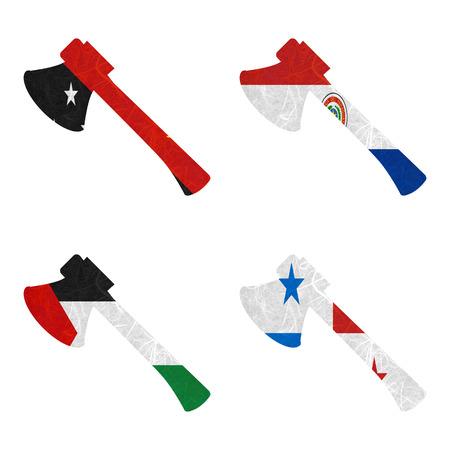 bandera panama: Bandera de la naci�n. Hacha de papel reciclado en el fondo blanco. (Palestina, Panam�, Papua Nueva Guinea, Paraguay)
