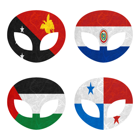 bandera panama: Bandera de la naci�n. papel reciclado extranjero sobre fondo blanco. (Palestina, Panam�, Papua Nueva Guinea, Paraguay) Foto de archivo