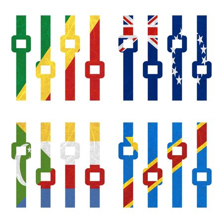 democratic republic of the congo: Nation Flag. Amplifier recycled paper on white background. ( Comoros , Congo Democratic Republic , Congo Republic , Cook Islands)