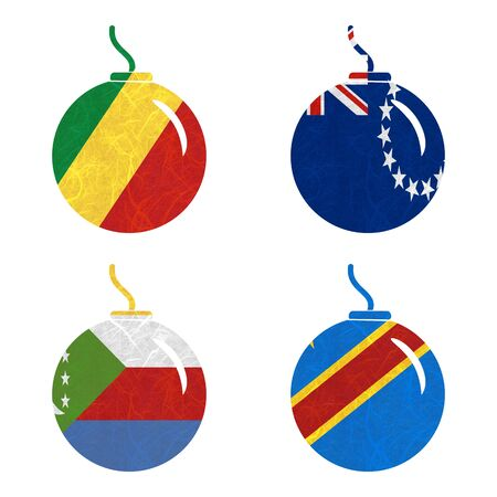 republic of the congo: Nation Flag. Bomb recycled paper on white background. ( Comoros , Congo Democratic Republic , Congo Republic , Cook Islands)