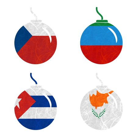 dagestan: Nation Flag. Bomb recycled paper on white background. ( Cuba , Cyprus , Czech Republic , Dagestan ) Stock Photo
