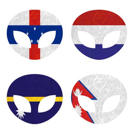 antilles: Nation Flag. Alien recycled paper on white background. ( Nauru , Nepal , Netherlands Antilles , Netherlands ) Stock Photo