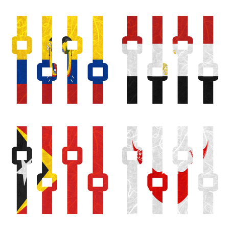 rapa nui: Bandera de la nación. Amplificador de papel reciclado en el fondo blanco. (Timor Oriental, la isla de Pascua Rapa Nui, Ecuador, Egipto)