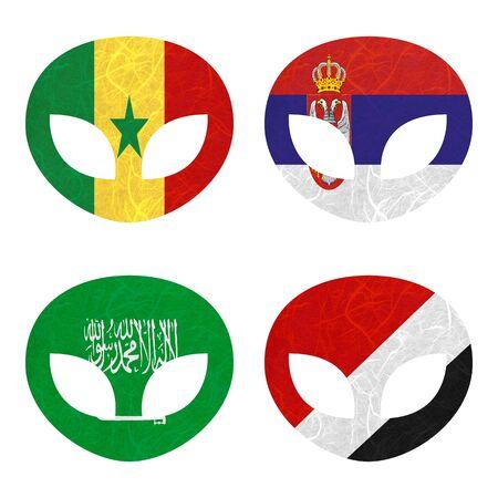 sealand: Nation Flag. Alien recycled paper on white background. ( Saudi Arabia , Sealand Principality , Senegal , Serbia ) Stock Photo