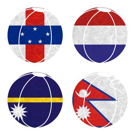 antilles: Nation Flag. Ball recycled paper on white background. ( Nauru , Nepal , Netherlands Antilles , Netherlands )