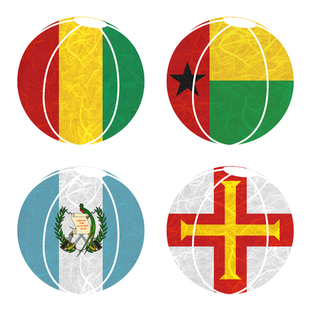 guernsey: Nation Flag. Ball recycled paper on white background. ( Guatemala , Guernsey , Guinea , Guinea-Bissau )
