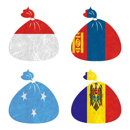 federated: Nation Flag. Bag recycled paper on white background. ( Micronesia Federated States , Moldova , Monaco , Mongolia )