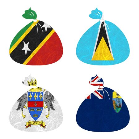 helena: Nation Flag. Bag recycled paper on white background. ( Saint Barthelemy , Saint Helena , Saint Kitts and Nevis , Saint Lucia )