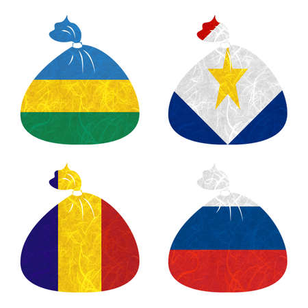 nation: Nation Flag. Bag recycled paper on white background. ( Romania , Russia , Rwanda , Saba )