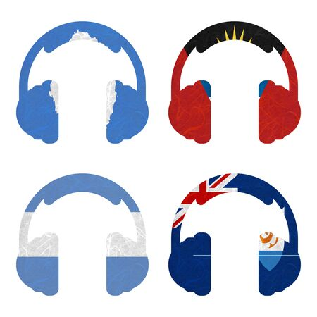 background antarctica: Nation Flag. Headphone recycled paper on white background. ( Anguilla , Antarctica , Antigua and Barbuda , Argentina )