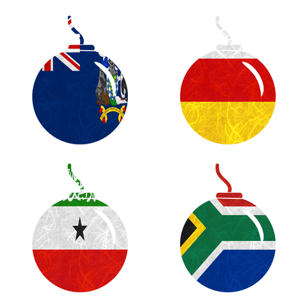 somaliland: Nation Flag. Bomb recycled paper on white background. ( Somaliland , South Africa , South Georgia and the South Sandwich Islands , South Ossetia )