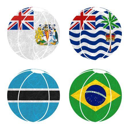 indian ocean: Nation Flag. Ball recycled paper on white background.  ( Botswana , Brazil , British Antarctic Territory , British Indian Ocean Territory ) Stock Photo
