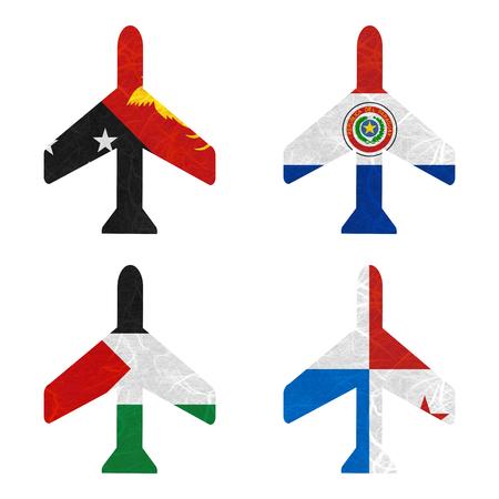 bandera panama: Bandera de la naci�n. Avi�n de papel reciclado en el fondo blanco. (Palestina, Panam�, Papua Nueva Guinea, Paraguay) Foto de archivo