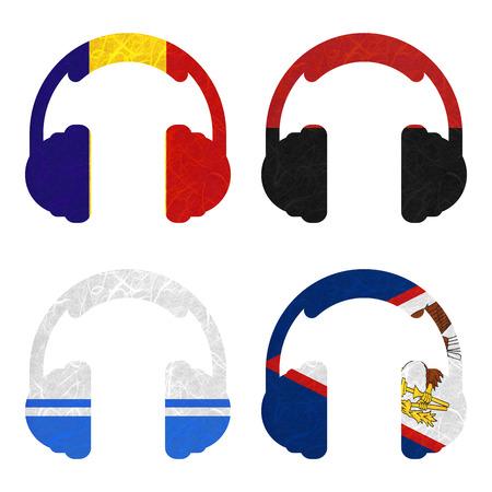 samoa: Nation Flag. Headphone recycled paper on white background. ( Altai Republic , American Samoa , Andorra , Angola )