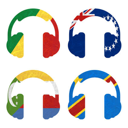 republic of the congo: Nation Flag. Headphone recycled paper on white background. ( Comoros , Congo Democratic Republic , Congo Republic , Cook Islands) Stock Photo