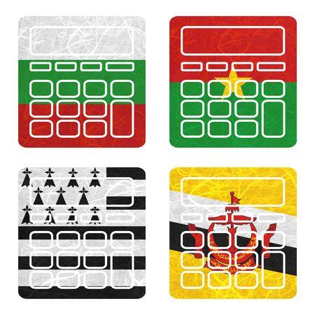 brunei darussalam: Nation Flag. Calculator recycled paper on white background. ( Brittany , Brunei Darussalam , Bulgaria , Burkina Faso )
