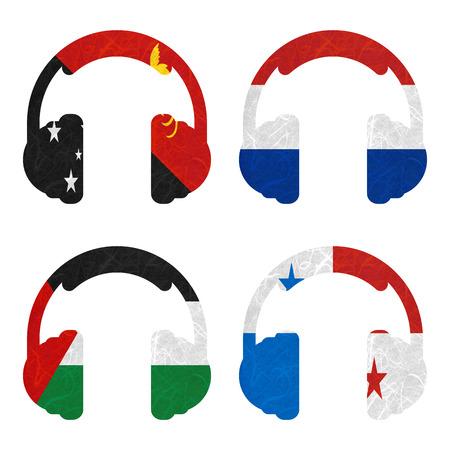 bandera de panama: Nation Flag. Headphone recycled paper on white background. ( Palestine , Panama , Papua New Guinea , Paraguay )