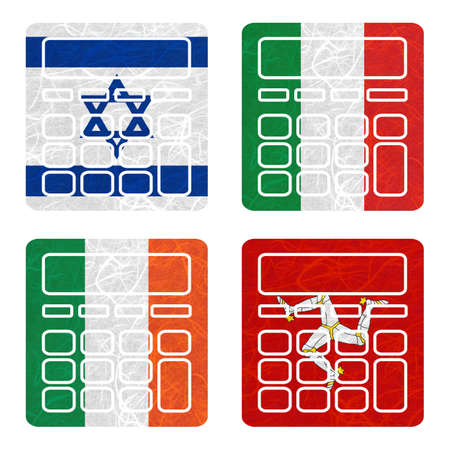 nation: Nation Flag. Calculator recycled paper on white background. ( Ireland , Isle of Man , Israel , Italy ) Stock Photo