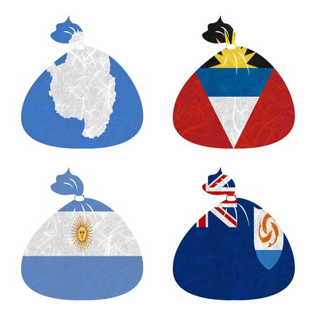 background antarctica: Nation Flag. Bag recycled paper on white background. ( Anguilla , Antarctica , Antigua and Barbuda , Argentina )