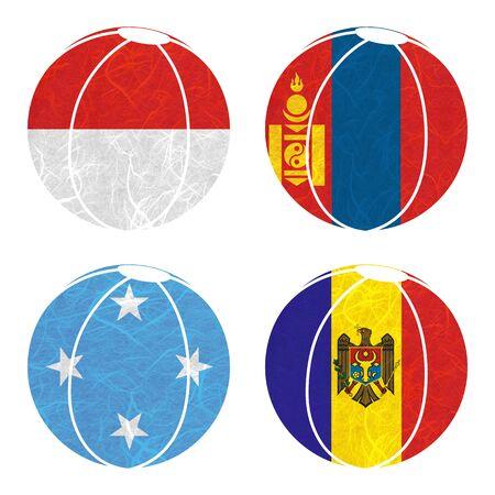 federated: Nation Flag. Ball recycled paper on white background. ( Micronesia Federated States , Moldova , Monaco , Mongolia ) Stock Photo