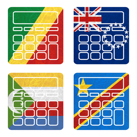 democratic republic of the congo: Nation Flag. Calculator recycled paper on white background. ( Comoros , Congo Democratic Republic , Congo Republic , Cook Islands) Stock Photo