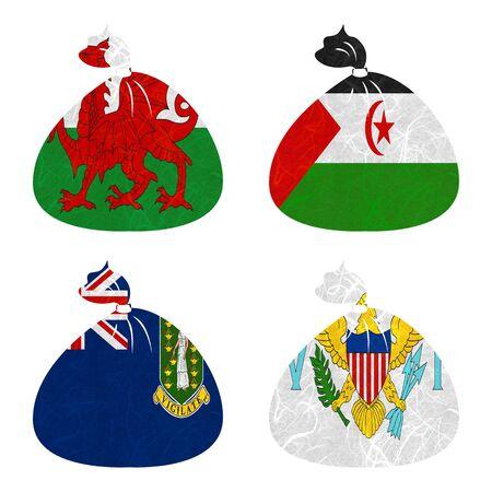 virgin islands: Nation Flag. Bag recycled paper on white background. ( Virgin Islands - UK , Virgin Islands - US , Wales , Western Sahara )