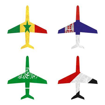 sealand: Nation Flag. Airplane recycled paper on white background. ( Saudi Arabia , Sealand Principality , Senegal , Serbia )