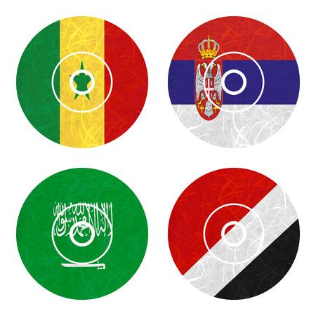 sealand: Nation Flag. DVD recycled paper on white background. ( Saudi Arabia , Sealand Principality , Senegal , Serbia )